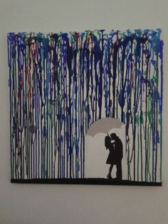 Drip-art couple in rain