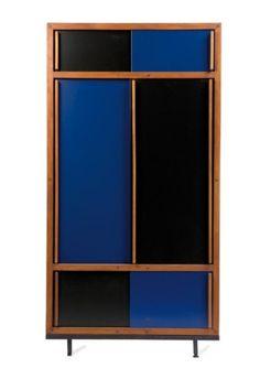 Armoire (c.1955) by designer André Sornay. Blond wood, black and blue laminated wood, 187.5 x 105 x 60 cm. via Gazette-Druot