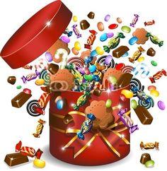 Vettoriale: Scatola Caramelle Cioccolato e Biscotti-Candies Gift-Vector