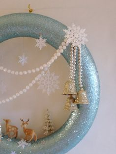 Aqua Deer in Winter Snow Wreath by ohmerci on Etsy, $68.00