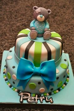 Birthday boy cake/could also be done in pink, green and brown for a girl. Baby Shower Sweets, Baby Shower Cakes, Fancy Cakes, Cute Cakes, Fondant Cakes, Cupcake Cakes, Cookies Decorados, Teddy Bear Cakes, Animal Cakes