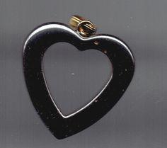 New Open Heart Hematite Pendant 31mm