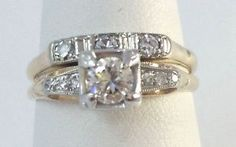 two tones vintage wedding ring | 57 Ct Vintage 14k Two Tone Round Diamond Engagement Ring Set Size 7 ...