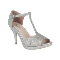 Women's Celeste Lynn-01 - Silver Dress ($58) ❤ liked on Polyvore featuring shoes, pumps, silver, high heel stiletto pumps, silver pumps, t strap pumps, silver stiletto pumps and silver shoes