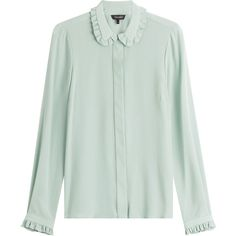 Tara Jarmon Blouses for Women Button Collar Shirt, Ruffle Collar Blouse, Ruffle Shirt, Ruffle Top, Teal Shirt, Teal Blouse, Green Blouse, Tara Jarmon, Moda Vintage