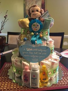 Boy themed diaper cake with monkey
