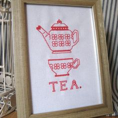 Thread Or Dead cross stitch frames £20 http://www.folksy.com/items/1418277-TEA-Red-Teapot-and-Teacup-Framed-Cross-Stitch?shop=yes
