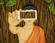 Annihilate thyselfie https://www.behance.net/gallery/48315615/Annihilate-Thyselfie #meditation #mindfullness #buddhism #illustration #drawing #selfie #selfienation