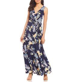 53e251fa252 Floral Print Wrap Style Maxi Dress Summer Formal Dresses