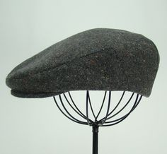 Grey Tweed with Brights Wool Men's Sixpence Hat   Flat by Sookie