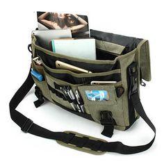 Men Canvas Multifunctional Big Capacity Outdoor 17.3 Inch Laptop Crossbody Bag Handbag is worth buying - NewChic Mobile