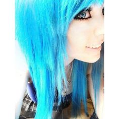 Electric blue hair cute hair dye ❤ liked on Polyvore featuring hair, girls y models