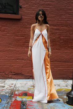 Leandra being wind blown in some Rosie Assoulin for the CFDAs. http://www.manrepeller.com/minor_cogitations/leandra-medine-style-cfdas.html