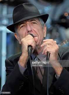 Leonard Cohen performs on stage at Hanging Rock on 20th November 2010 in Victoria Australia