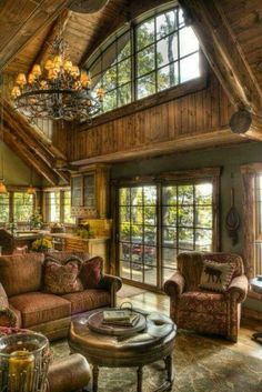 Awesome Rustic Log Cabin Homes Design Ideas. Below are the Rustic Log Cabin Homes Design Ideas. This post about Rustic Log Cabin Homes Design Ideas was posted under the Decoration category by our team at April 2019 at am. Hope you enjoy it and don& . Log Cabin Living, Log Cabin Homes, Log Cabins, Mountain Cabins, Mountain Living, Cottage Living, Style At Home, Traditional Family Rooms, Modern Traditional