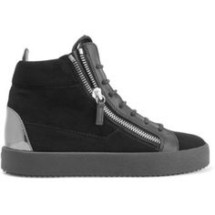 Giuseppe Zanotti Glossed leather-trimmed suede high-top sneakers