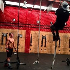 """With the CrossFit Regionals events now released, TWL Athletes refining their technique in preparation. @luke_mcmahon1 getting after """"Tommy V"""" including Thrusters & Rope Climbs with @dane262. Counting down until the Pacific Regionals! Will you be joining us? www.thewodlife.com.au"""