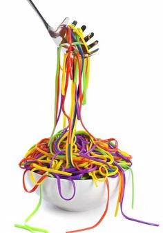 Warning: Fun Dinner Night Ahead! Cook spaghetti noodles drain and cool. Fill a gallon Ziplock bag one quarter of the way with water. Add food coloring to the water. Add part of cooked spaghetti and mix around in the ziplock bag until noodles change color. Drain repeat with other colors. Place the noodles in separate bowls. food coloring + normal spaghetti. kids would LOVE this!