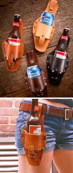 these would be hilarious gifts! Beer Holster: File under Hipster Trend, but funny gift for the beer drinker. I would hope anyone I could gift this too would be drinking a local craft beer! This is just awesome! Crea Cuir, Steampunk Accessoires, Leather Projects, Leather Crafts, Clutch, Leather Working, Country Girls, Country Jam, Devon
