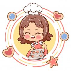 Cartoon Chef, Cartoon Man, Cartoon Kids, Kitchen Cartoon, Cute Bakery, Kids Cartoon Characters, Cupcake Vector, Bakery Logo Design, Kid Character
