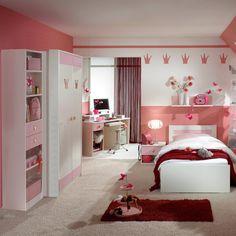 Camera per ragazzi Aster in bianco opaco e rosa