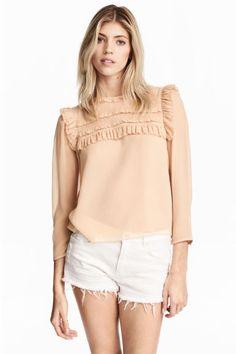 Шифоновая блузка с оборками  - Бежевая пудра - Женщины   H&M RU