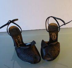 Vintage I. Miller Evins Satin Ankle Strap Shoes by TheOldBagOnline on Etsy