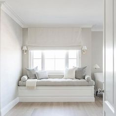 Master Bedroom with Built In Window Seat Bench