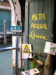 Libreria Acqua Alta in Venice, Italy. This bookstore is easily one of the most memorable and quirky places in Venice. The shop itself is small, and filled with books that fall out of gondolas, bathtubs, and small boats. You can dip your feet in the canal as you read, or climb a set of steps entirely made of old books.