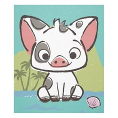 $61.45  ·  Let us introduce Pua, the pot-bellied pig from Moana. This playful piglet is the beloved pet, sidekick and best friend of the Ocean princess, Moana. Pua is the cutest, cuddliest and fluffiest little pig you will ever see. Kids will love this adorable design featuring Disney's most loveable pig! Cute Cartoon Drawings, Cute Cartoon Characters, Cartoon Kids, Easy Drawings, Cute Cartoon Animals, Easy Disney Drawings, Cartoon Illustrations, Chalk Drawings, Disney Canvas Art