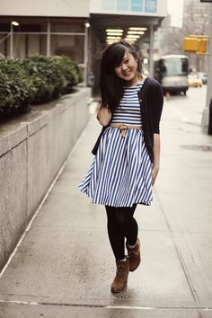 JennifHsieh | Blue Striped Dress #wiwt #ootd #outfit #fashion