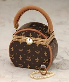 Limoges Brown Round Louis Vuitton Purse with Necklace Limoges Trinket Box ~ The Cottage Shop