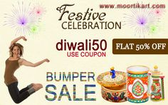 Festive celebration Use coupon code diwali50 Flat 50% OFF BUMPER SALE For more information you can visit http://www.moortikart.com