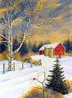 ART / WINTER SNOW~ Evening Farm ~ Kathy Glasnap.