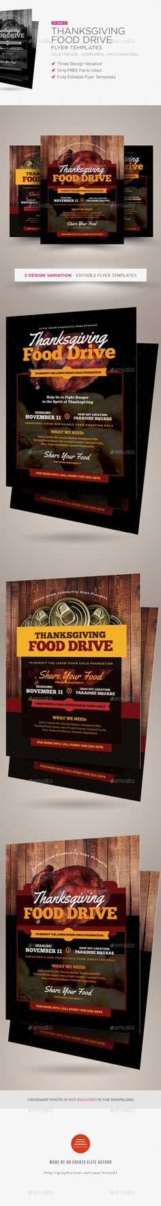 Thanksgiving Food Drive Flyer Templates  — PSD Template #leaflet #advert • Download ➝ https://graphicriver.net/item/thanksgiving-food-drive-flyer-templates/18507261?ref=pxcr