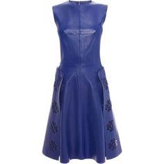 Alexander McQueen Laser Cut Leather Dress ($2,610) ❤ liked on Polyvore featuring dresses, alexander mcqueen, cadet blue, blue floral dress, blue dress, blue flower print dress, button dress e sleeveless leather dress