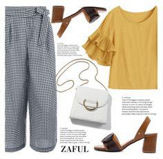 Zaful by fattie-zara on Polyvore featuring ruffles, blockheel, gingham and zaful