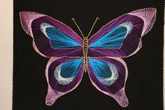 ein Schmetterling Fadengrafik Anleitung, wie Sie ein buntes Bild selber zaubern