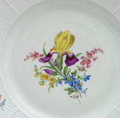 Meissen Speiseteller Korbrand Blumenmalerei in Antiquitäten & Kunst, Porzellan & Keramik, Porzellan | eBay!