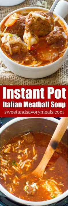 Instant Pot Italian Meatball Soup is easily made in one pot in your Instant Pot, with accessible ingredients and in just 30 minutes. Juicy meatballs cooked in a rich tomato broth. #soup #instantpot #onepot
