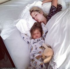Sound asleep: Ivanka Trump and her daughter Arabella, who turns three today, stayed up for...