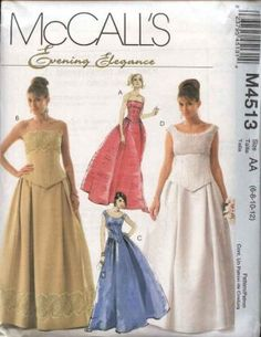 b46bca55e1 McCalls Sewing Pattern 4513 Misses Size 6-12 Evening Wedding Formal Prom Gown  Dress Top