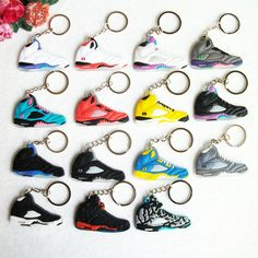 Mini Silicone Sneaker Jordan 5 Keychain Key Chain Shoes Car Key Holder  Woman Men Bag Charm d1c7ac4793e7