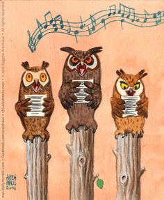 Owl Daily by Eugene Arenhaus — №458: Song owls.