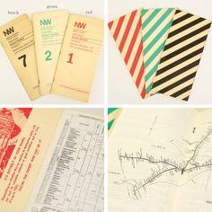paper アメリカ合衆国で1838年から1982年まで存在していた1級鉄道会社、ノーフォーク・アンド・ウェスタン鉄道のタイムテーブル。 冊子の表紙には、鉄道会社を識別するための報告記号がNWと大きくプリントされています。  番号によって期間が異なり、古いものからNo7(ブラック)1978年1月1日、No1(レッド)1981年3月1日、No2(グリーン)1982年4月11日。  経年による日焼やうっすらとした汚れが味わい深く、鉄道好きな方はもちろん、ディスプレイや観賞用としても楽しめる一冊です。 背表紙は斜めのストライプが可愛らしく、カラーも少しくすんでより深みのある色合いに。 30年前の列車の様子を思い浮かべて眺めるのも楽しいアイテムですよ。