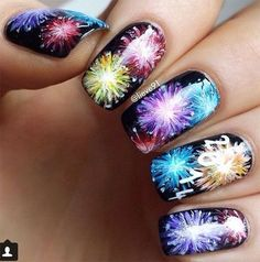 4th of July Fireworks Nail Art Designs