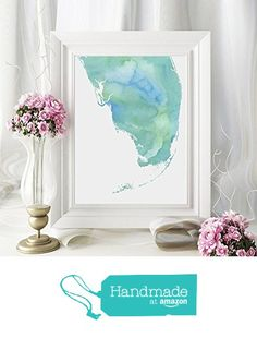 South Florida Or Any State Map Art Print Watercolor Series Hometown Miami Wall Art Paint