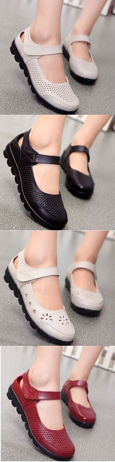 SOCOFY Hollow Out Breathable Pattern Leather Hook Loop Shoes