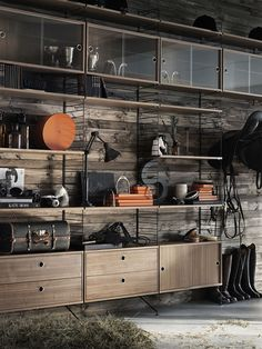 12 Well-Thought-Out Modular Shelving Systems System Furniture, Cabinet Furniture, Rustic Furniture, Modular Shelving, Shelving Systems, String Regal, String Shelf, String System, Interior Led Lights