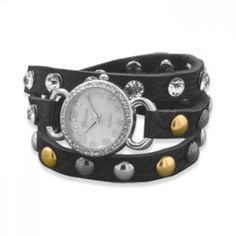 """This brand new Geneva brand watch is a wrap style 20.5"""" - 23"""" band watch with a black colored fine leather band and a 27mm round face. The 10 millimeter wide band has 7.5mm crystal and metal beads.  The metal beads on these wrap band fashion watches may vary slightly from the watch pictured.  ..."""